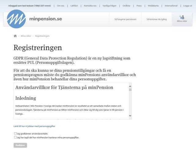 Skärmdump som visar de nya användarvillkoren