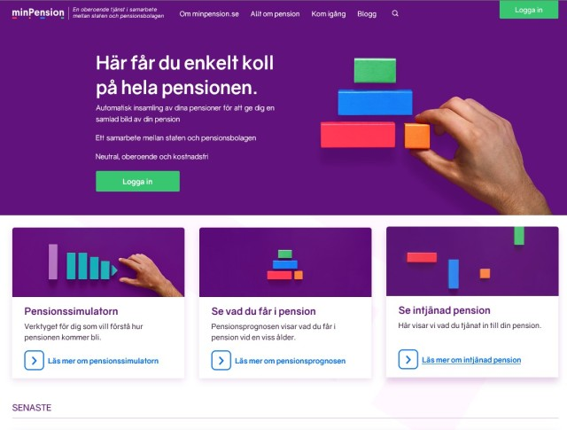 Skärmdump på nya minPension
