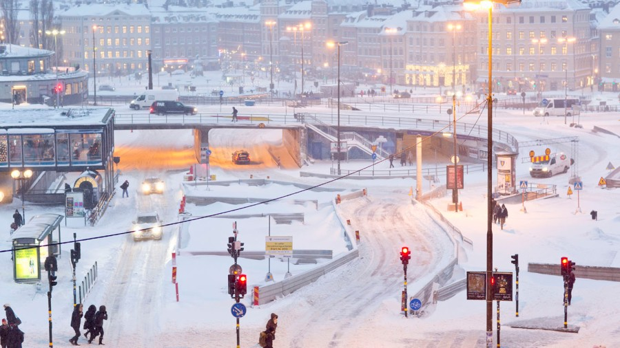 Slussen i Stockholm. Snökaos
