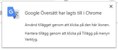 Google översätt - har lagts till i Chrome