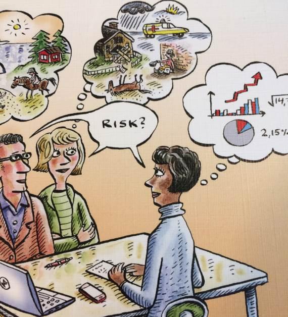 En tecknad bild som visar olika tankar om begreppet risk
