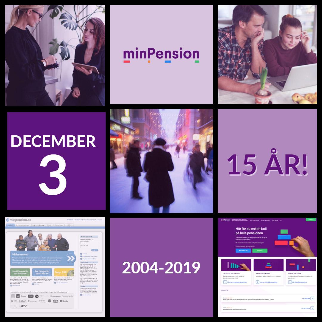 Ett kollage av bilder och text som firar minPension 15 år