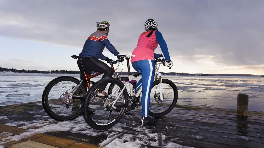 två cyklister på en brygga, tittar ut över en frusen vik (is)