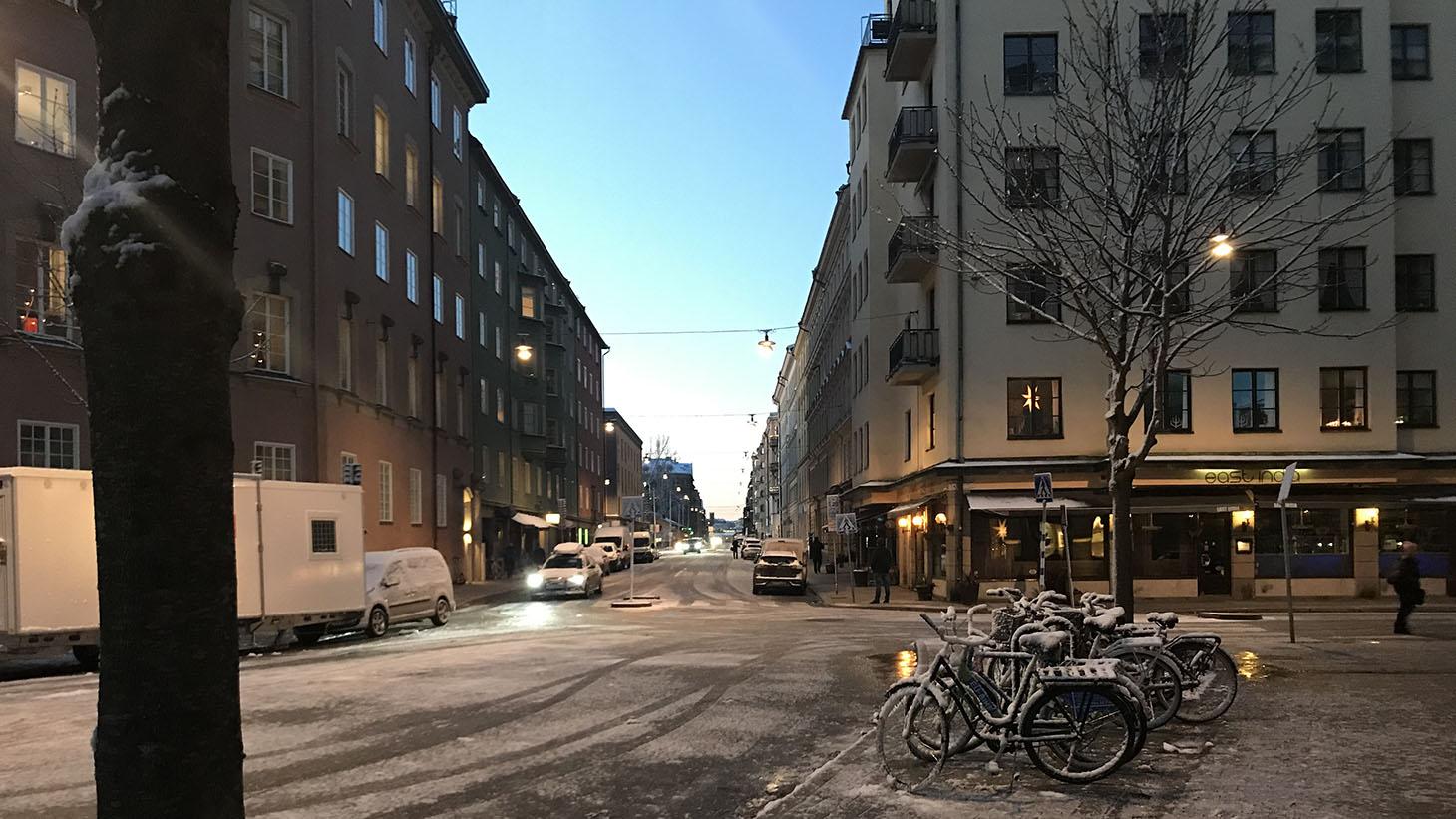 tidig decembermorgon på Östermalm i Stockholm