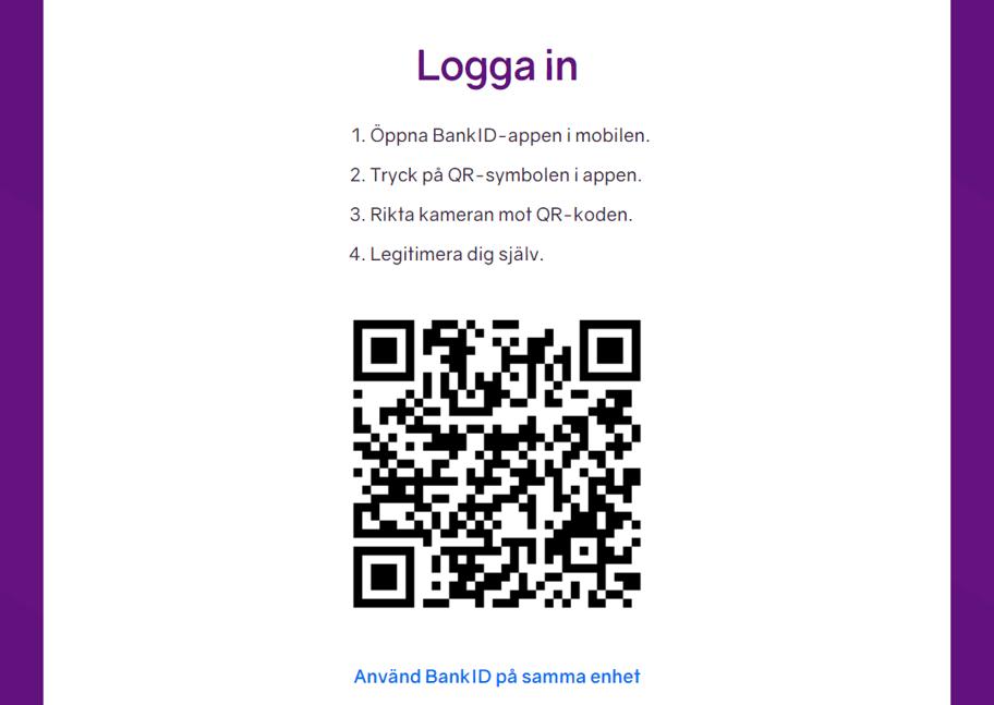 Visar den nya QR-koden för inloggning på minPension