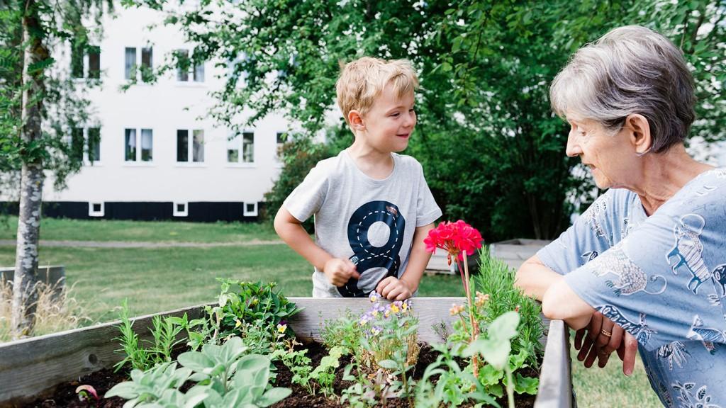 En kvinna och ett barn planterar i en odlingslåda