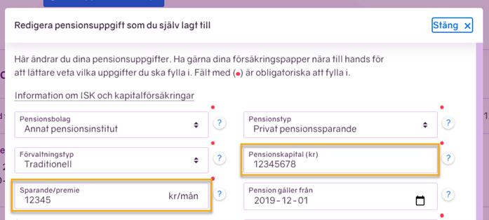 Skärmbild från minPension som visar hur du själv kan ändra uppgifterna om dina egeninmatade pensioner.