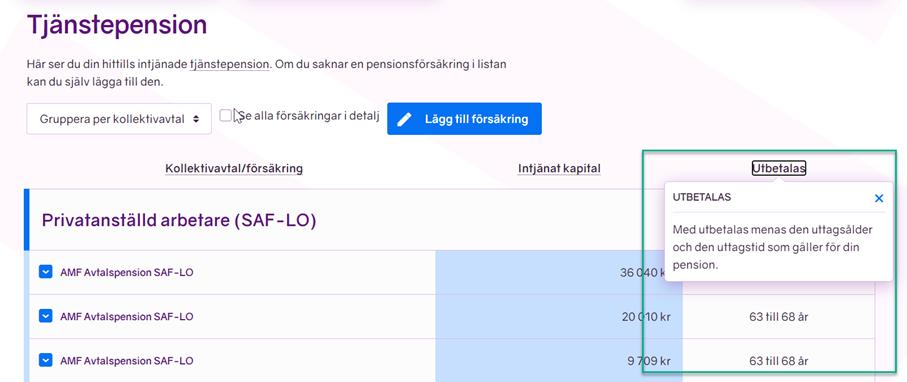 Skärmbild från minPension som visar den nya kolumnen för pensioner under utbetalning.