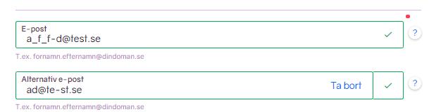 Skärmbild som visar e-postinmatning.