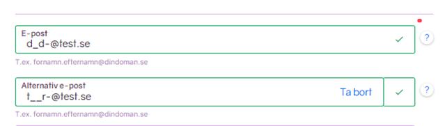 Skärmbild på nu godkända e-postadresser.